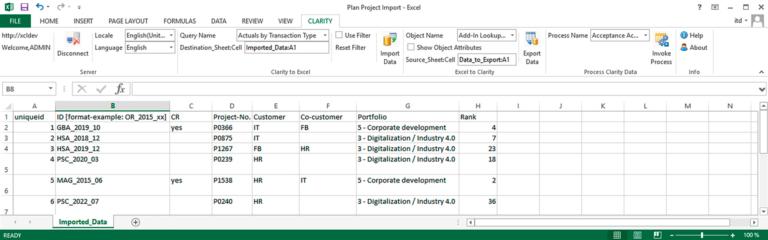 Daten-Import aus Excel nach Clarity PPM